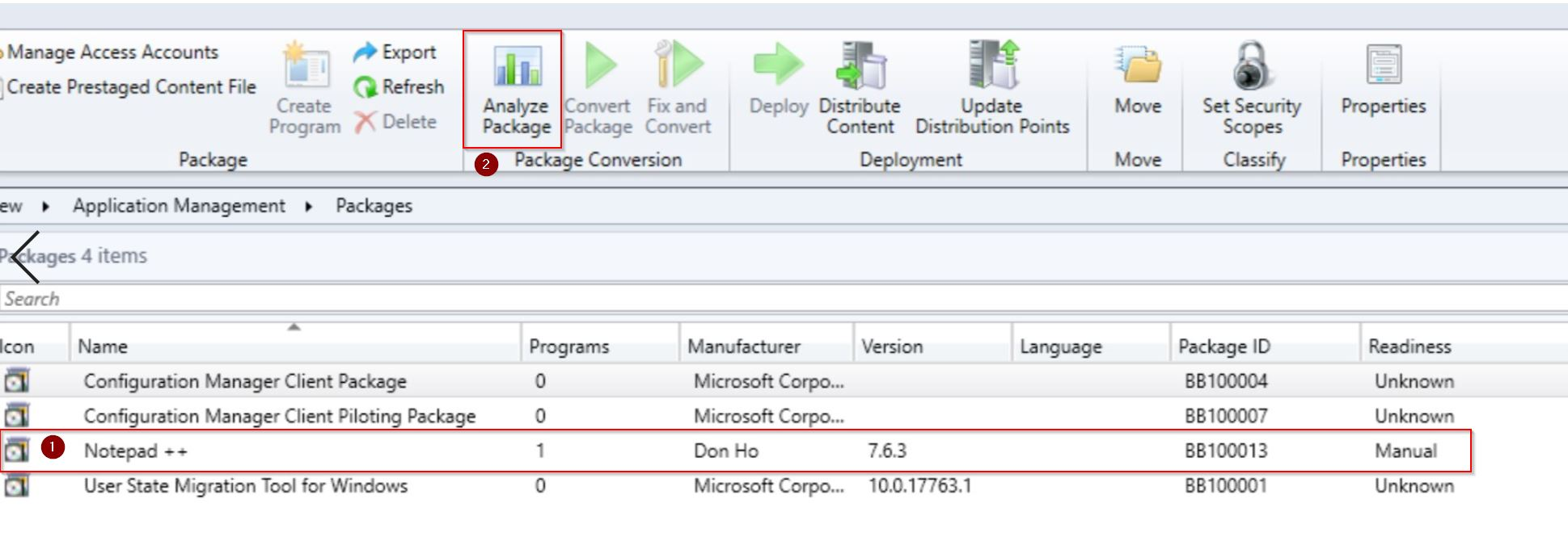 convert sccm package to application