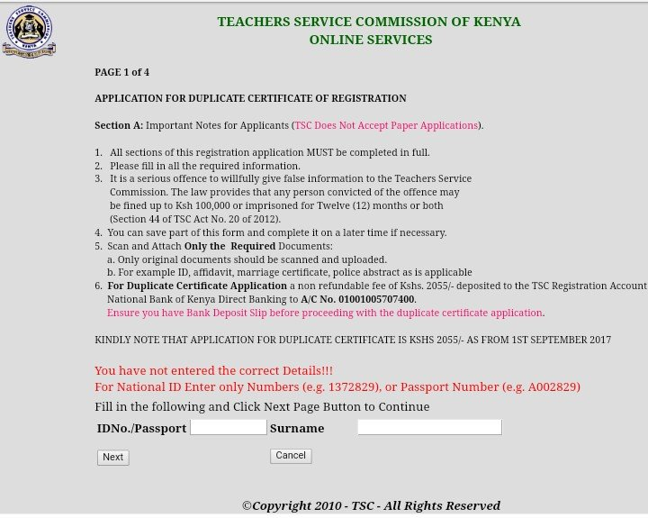 tsc application forms for tsc number