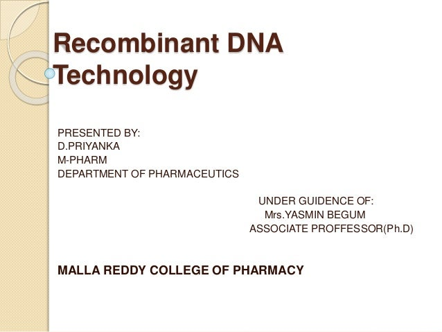 recombinant dna technology and its applications ppt