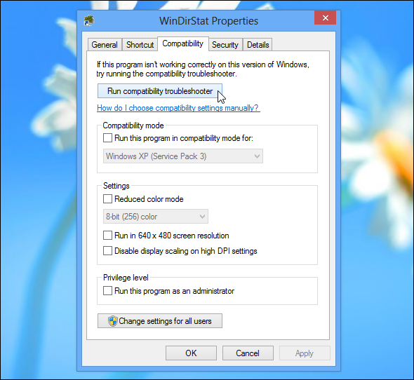 windows 7 application compatability settings unavailable