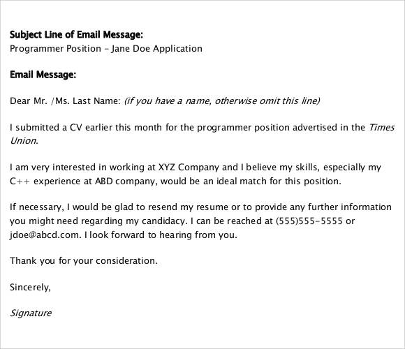 follow up email after application subject line