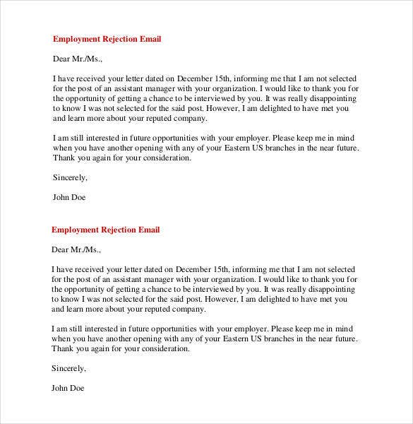 email job application rejection template
