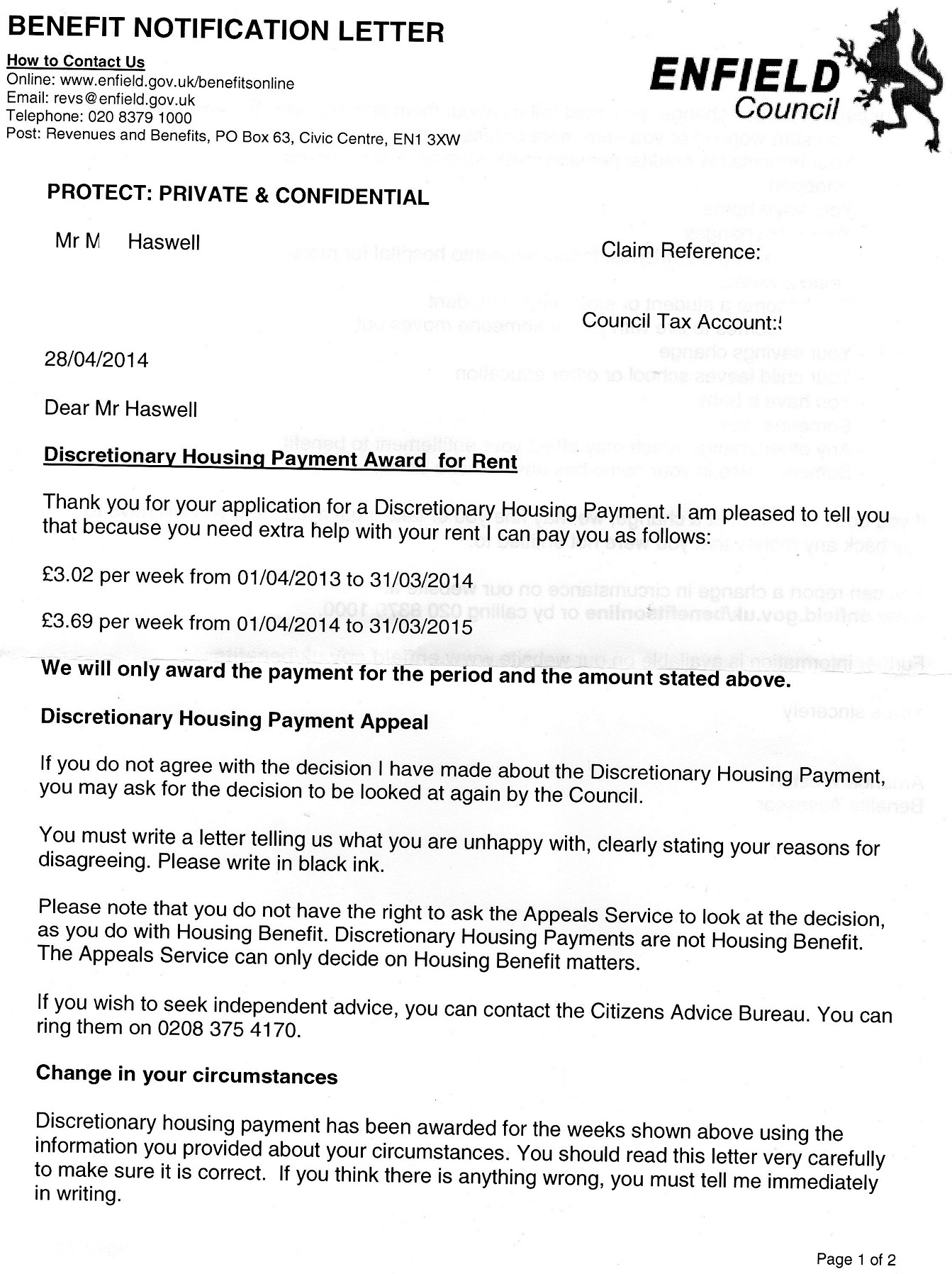 enfield council housing application form